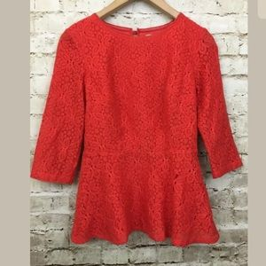 ANTHROPOLOGIE MOULINETTE SOEURS Red Lace Peplum